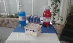 Detalle Candy Bar Joaquin minipopcorn y botellas con refresco rojo y azul