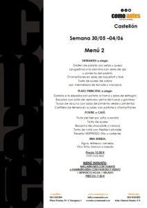 menú 2 semana 30.05-04.06