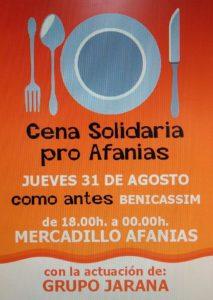 Cena y market solidario pro Afanias en como antes Benicasim